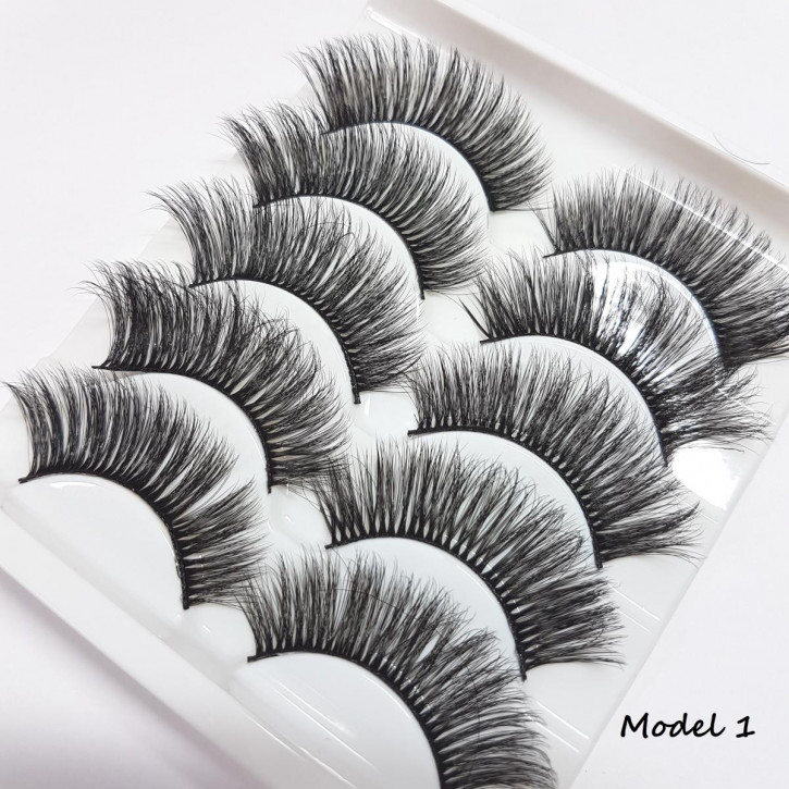 5 Sets of Strip Eyelashes, made of fine silk synthetic fiber