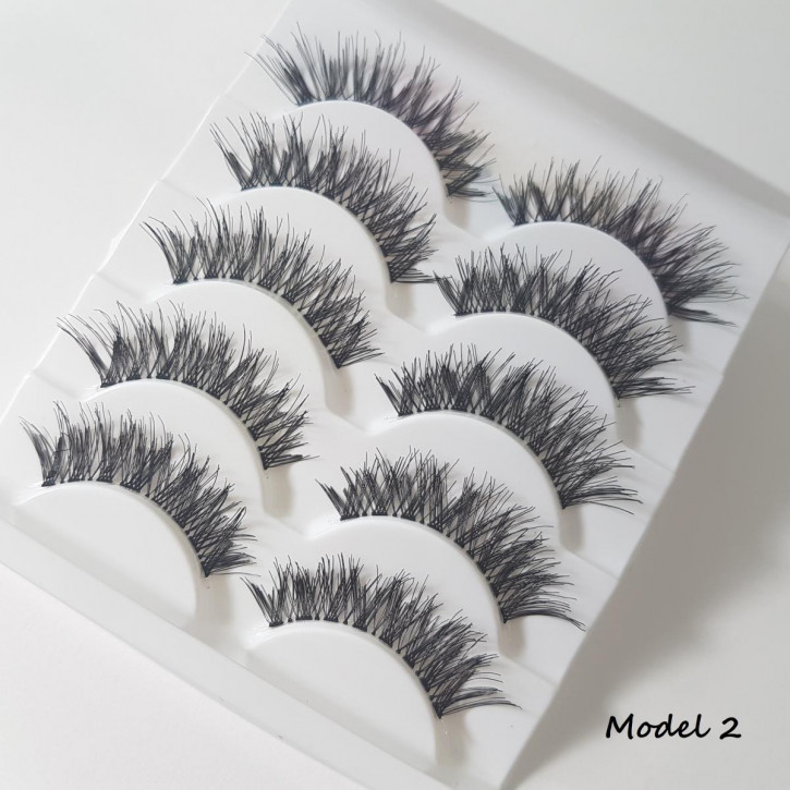 5 Sets of Strip Eyelashes, made of fine silk synthetic fiber - Model 02