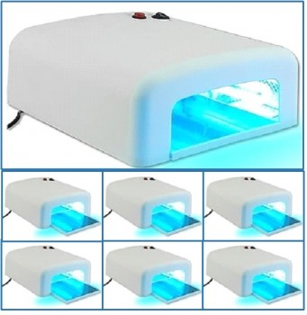 6 × UV lamp, curing device, 36 W, incl. 4 twin tubes and timer