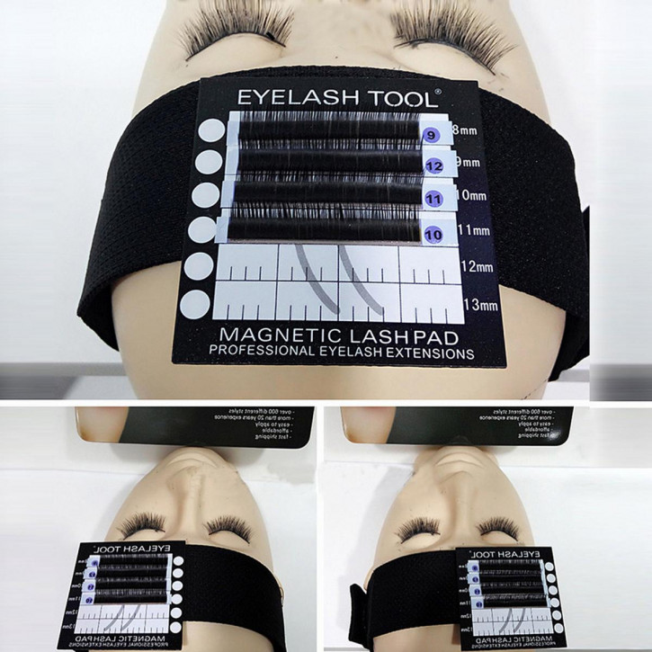 Bandeau with magnetic eyelash pad for eyelash extension, headband for eyelash application