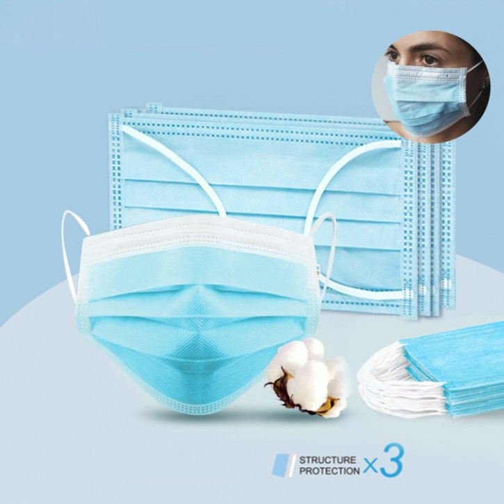 Surgical single-use mask, 3-layer, effective facemask for protection from dust, breathing mask with ear loops, CE and FDA certified