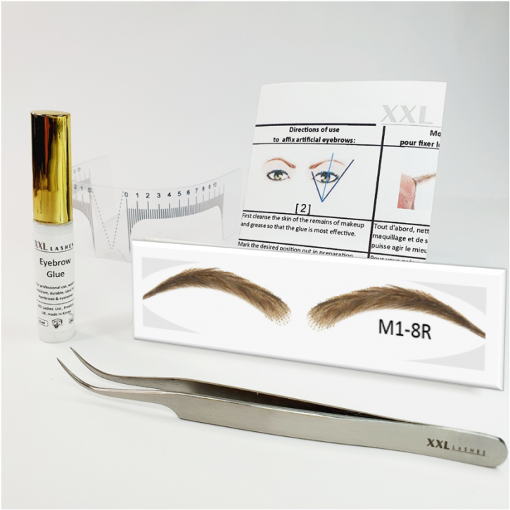 Set of semi-permanent, stick-on eyebrows, 100% natural hair, handmade - with glue, eyebrow ruler and tweezer