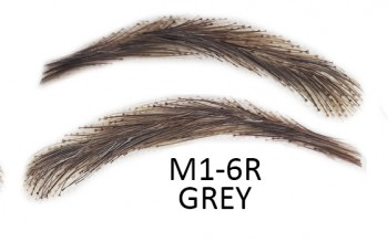 Artificial, semi-permanent, stick-on eyebrows made of 100% natural hair, handmade, M1-6R grey