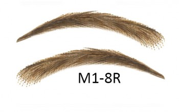 Artificial, semi-permanent, stick-on eyebrows made of 100% natural hair, handmade, M1-8R