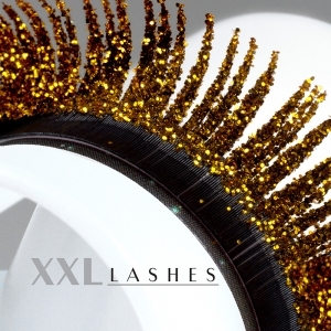 """Glitter"" Mink eyelashes available in silver and gold - C-Curl, in 3 different lengths in a box - gold"