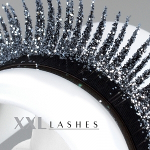 """Glitter"" Mink eyelashes available in silver and gold - C-Curl, in 3 different lengths in a box - silver"