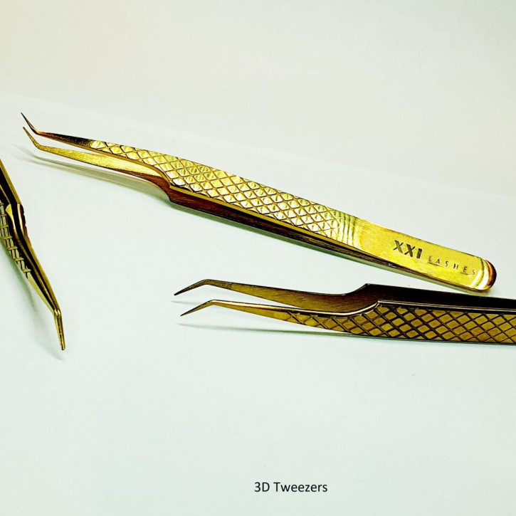 Diamond Tip Precision Tweezers for Russian Volume Eyelash Extension Technique - 3D