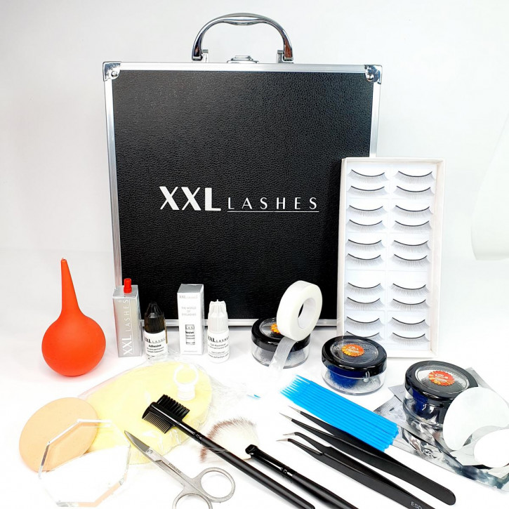 XXL Lashes Starter Kit for eyelash extensions, black case with basic equipment for beginner stylists, including manual
