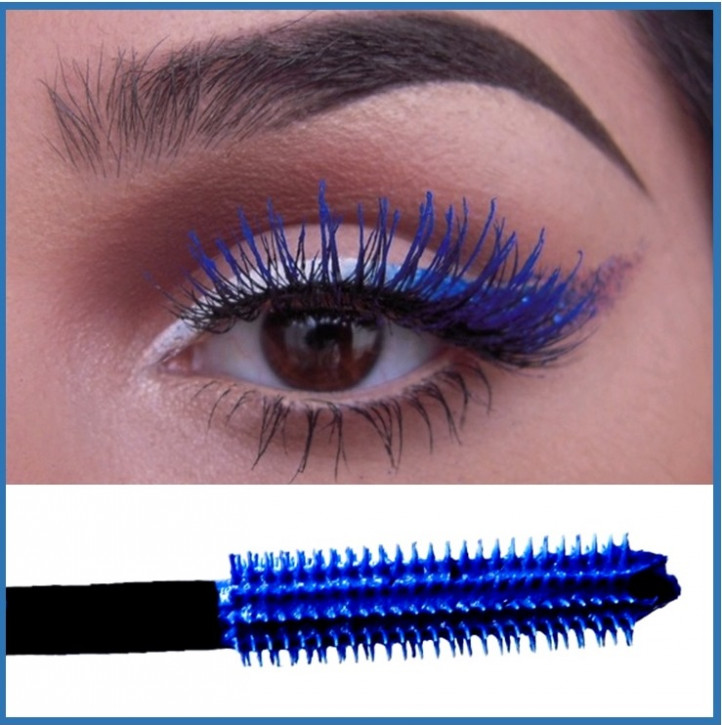 Blue mascara, waterproof, mascara to add volume and intense colour
