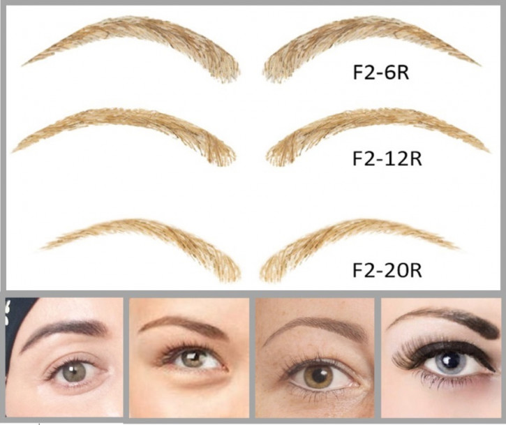 Artificial, semi-permanent, stick-on eyebrows made of 100% natural hair, handmade