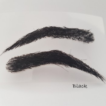 Eyebrow stickers for men, semi-permanent, bushy,  handmade of 100% natural hair, seconds at a reduced price - black