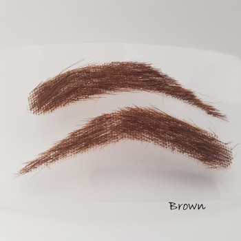 Eyebrow stickers for men, semi-permanent, bushy,  handmade of 100% natural hair, seconds at a reduced price - brown