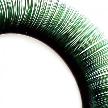 Two-tone Mink-Lashes, black/green, 9 mm