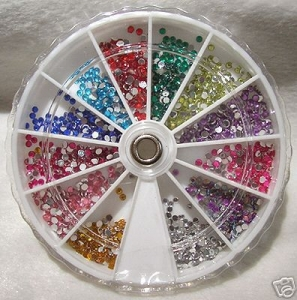 600 Crystal Stones / Strass Stones: Palette with 12 colours