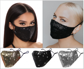 Glamour Face Mask with Sequins, Glitter Sparkling Mouth Mask