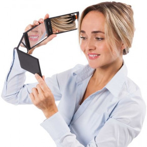Foldable 4 sided cosmetic mirror - guaranteed to 'wow'