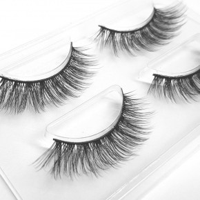 2 Sets of Strip Eyelashes, made of fine silk synthetic fiber
